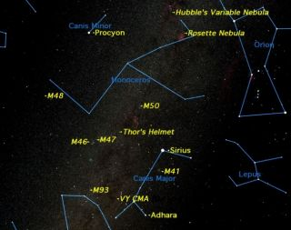 The winter Milky Way runs between the two celestial dogs, Canis Major and Canis Minor. These dog constellations make faithful sky companions for winter skywatchers.