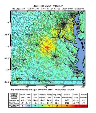 USGS shakemap showing he August 23, 2011, Virginia earthquake.
