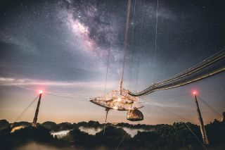 A starry sky above the Arecibo Observatory in Puerto Rico.