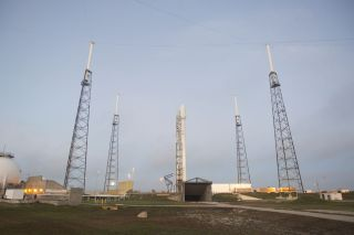 SpaceX's first Falcon 9 rocket to launch in 2014 sits atop its launch pad at Cape Canaveral Air Force Station in Florida for a planned Jan. 6 launch.
