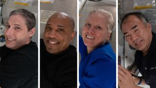 Crew-1 will return to Earth on April 28, 2021. From left: NASA astronauts Mike Hopkins, Victor Glover and Shannon Walker and JAXA astronaut Soichi Noguchi.