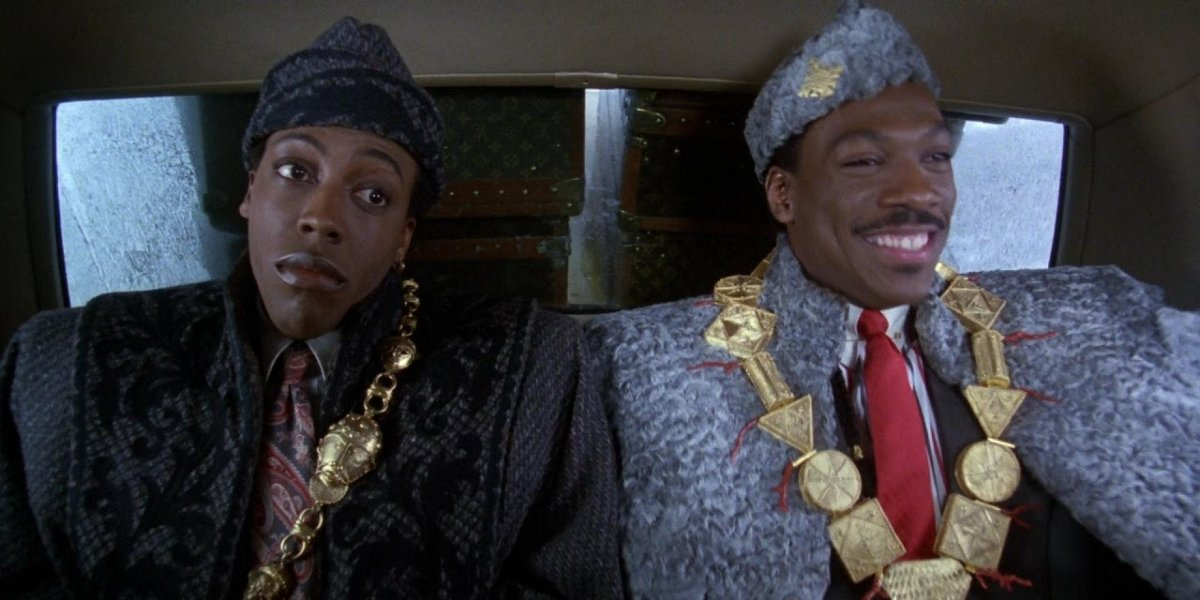 Coming to America Arsenio Hall and Eddie Murphy riding in the royal backseat