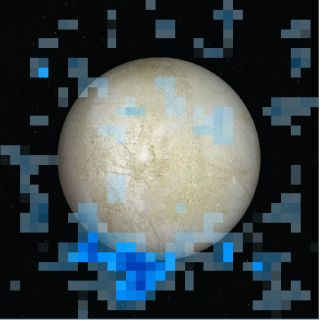A south polar water vapor plume on Europa is shown in blue in this Hubble Space Telescope data image, which is superimposed on a visible light image of the Jupiter moon's leading hemisphere.