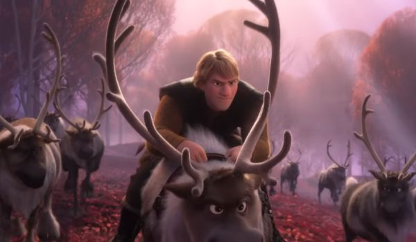 Kristoff riding Sven in Frozen II