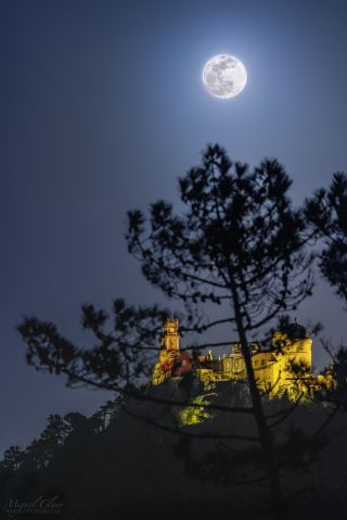 "A ""Super Snow Moon"" shines above the Pena Palace (Palácio da Pena), a Romanticist hilltop castle overlooking the town of Sintra, Portugal."