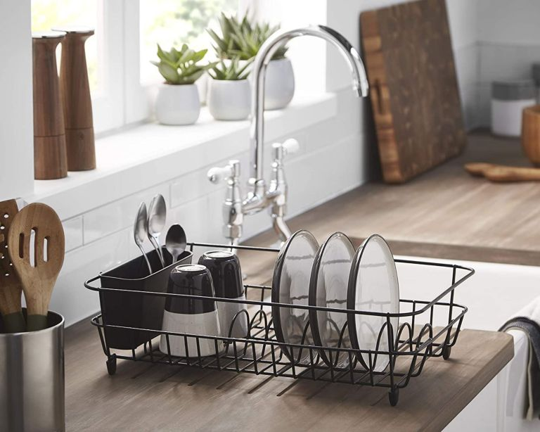 simplywire - Black Dish Drainer with Cutlery Basket