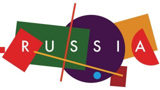 """Russia"" surrounded by bright geometric shapes"
