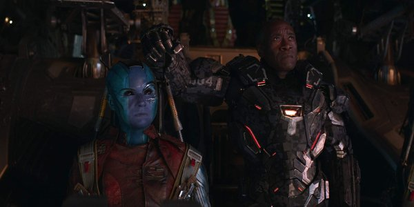 Avengers: Endgame Nebula and Rhodey looking up in concern