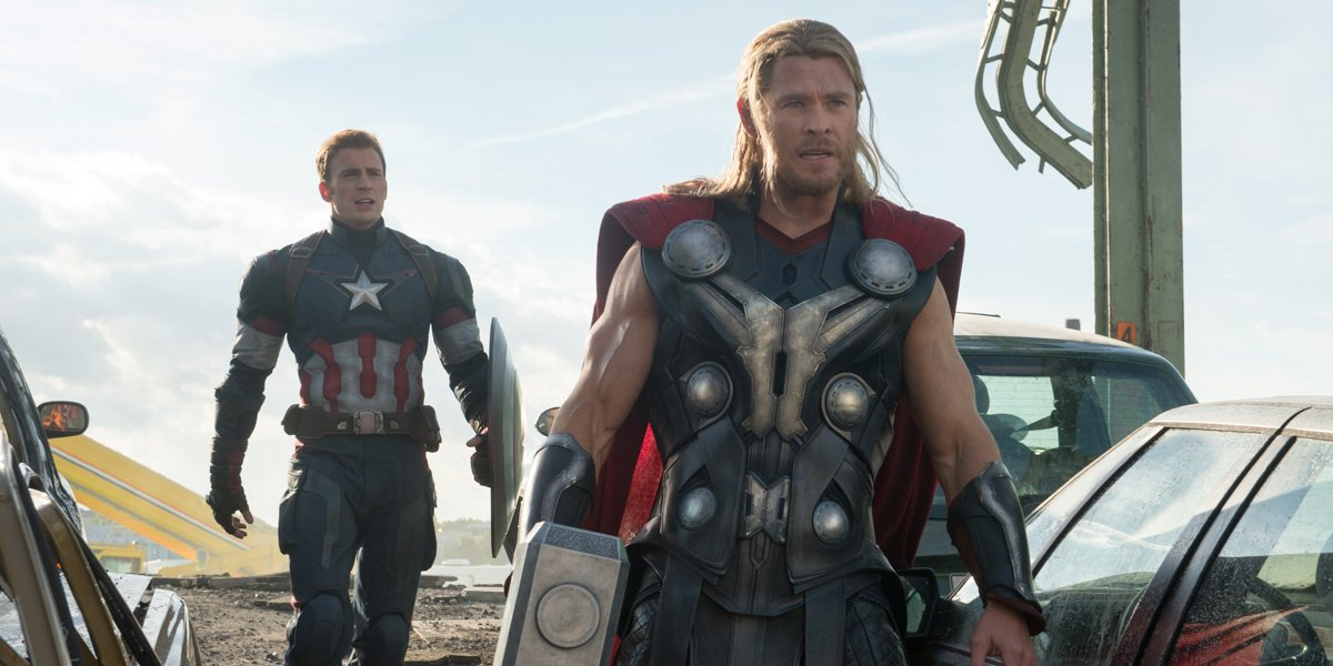 The Avengers Age of Ultron team flying past camera