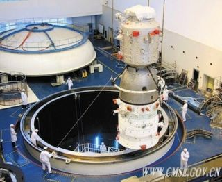 Photo of the Shenzhou 8 spacecraft undergoing testing earlier in 2011.