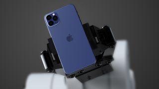 El iPhone 12 azul oscuro en un render 3D