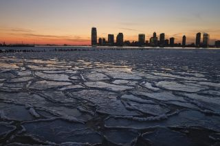 Ice covered the Hudson River on Jan. 9, 2014, during a cold spell caused by a polar vortex that descended from the Arctic.