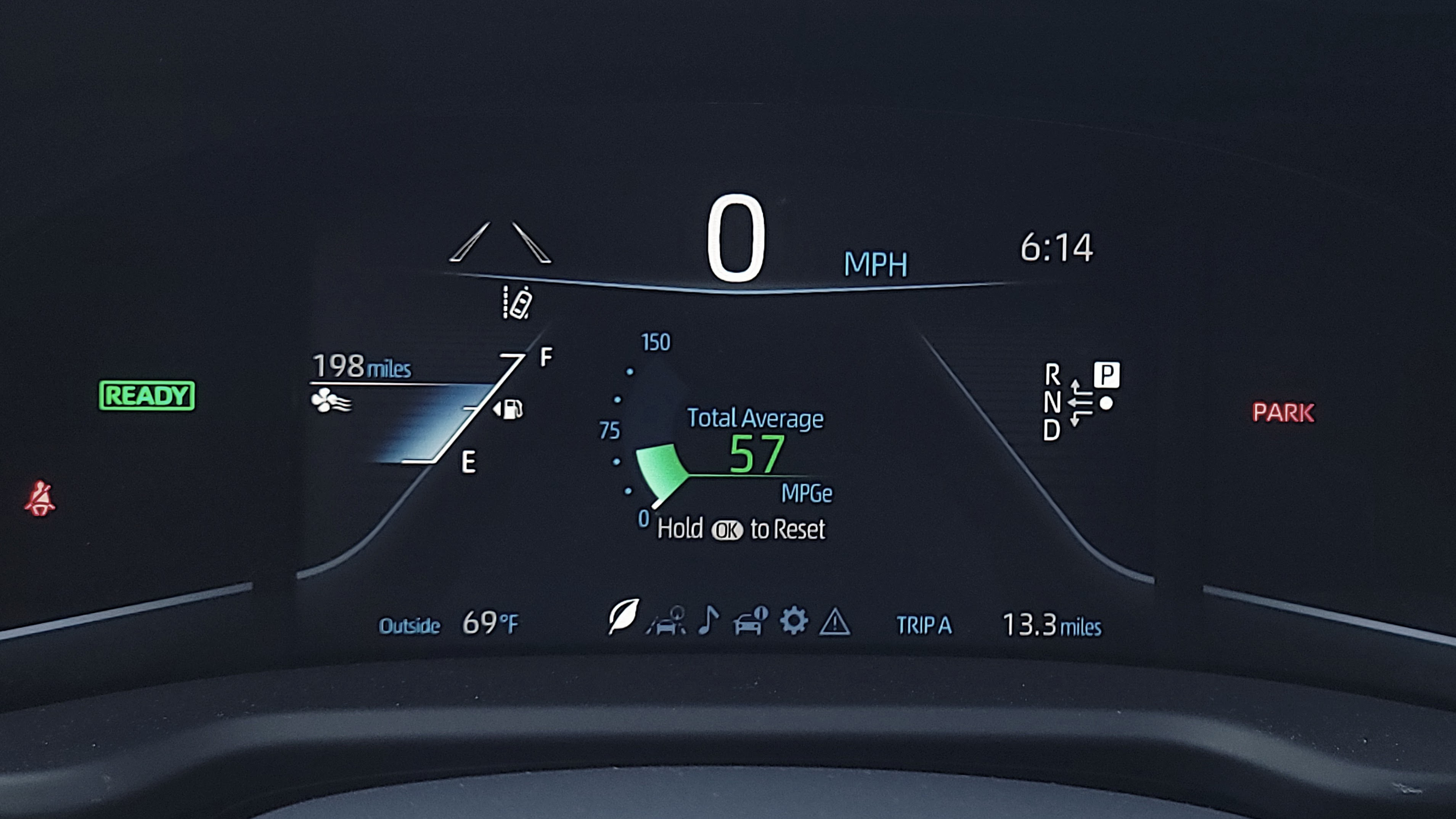 Instrument cluster display in the Toyota Mirai (2021)