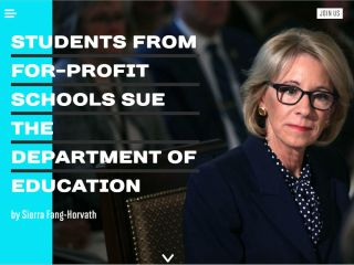Screenshot showing Betsy DeVos with title: Students from for-profit schools sue department of education