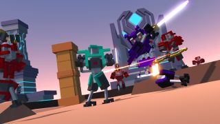 A voxel robot slicing another in half with a laser sword