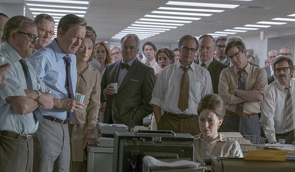 The Post Tom Hanks Meryl Streep Bradley Whitford Carrie Coons eyes glued to TV coverage