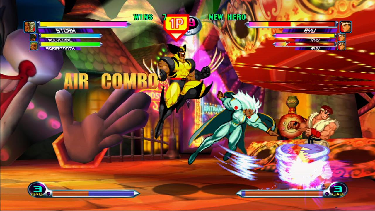 A typical fight in Marvel vs Capcom 2, making use of assists