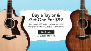 Buy a Taylor acoustic guitar and get another for just $99 at Musician's Friend