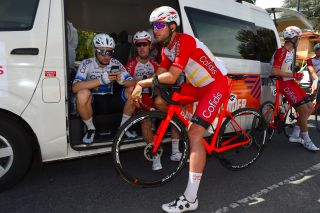 Nathan Haas chats with Cofidis teammate and European road race champion Elia Viviani ahead of the start of stage 2 of the 2020 Tour Down Under in Woodside
