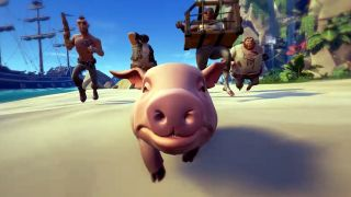 A pig flees a gang of would be captors in Sea of Thieves