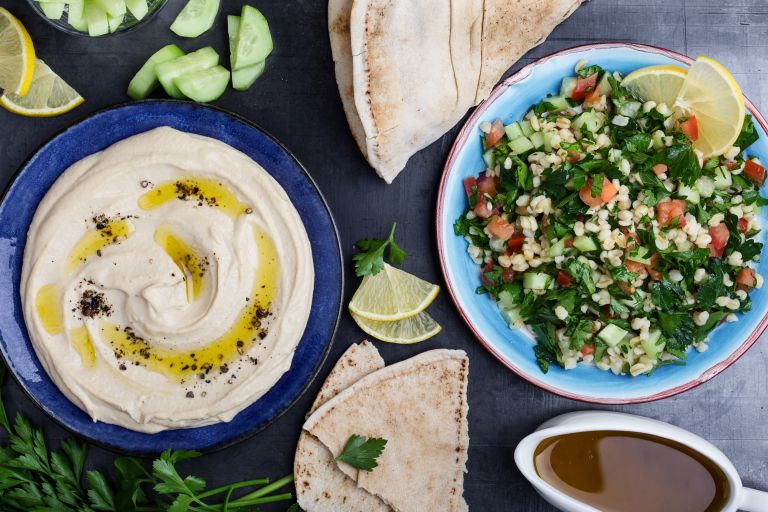 tabbouleh and hummus