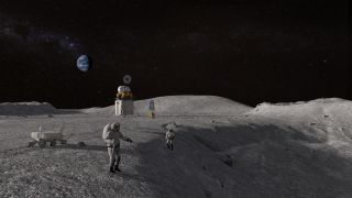 An artist's concept of astronauts working on the moon.