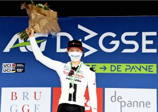 Lorena Wiebes of Team Sunweb celebrates on the podium after winning the womens elite stage of the Driedaagse Brugge De Panne cycling race 156km from Brugge to De Panne Tuesday 20 October 2020 BELGA PHOTO ERIC LALMAND Photo by ERIC LALMANDBELGA MAGAFP via Getty Images