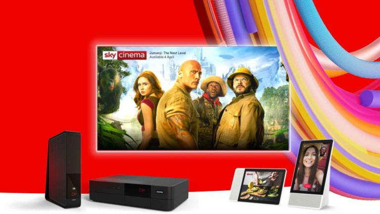 Virgin Media deals: Free Lenovo Smart Display with selected pakcages. Jumanji on TV screen on red background.