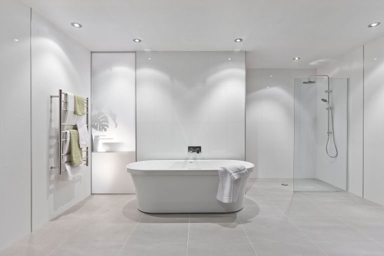 grey and white modern luxury bathroom