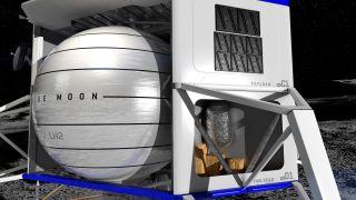 A simulated view of Blue Origin's Blue Moon lunar lander.