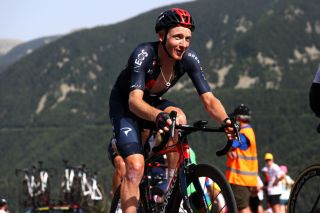 ANDORRELAVIEILLE ANDORRA JULY 11 Tao Geoghegan Hart of The United Kingdom and Team INEOS Grenadiers during the 108th Tour de France 2021 Stage 15 a 1913km stage from Cret to AndorrelaVieille Col de Beixalis 1796m Public Fans LeTour TDF2021 on July 11 2021 in AndorrelaVieille Andorra Photo by Michael SteeleGetty Images