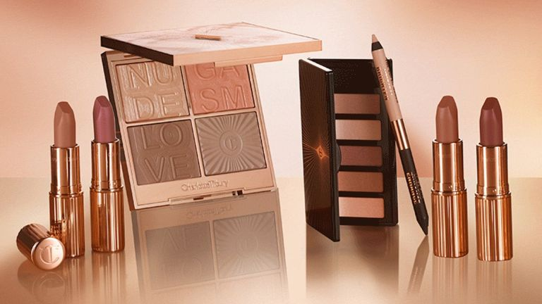 makeup collection from charlotte tilbury titled super nudes eyeshadows, lipsticks, lip liners, blushes