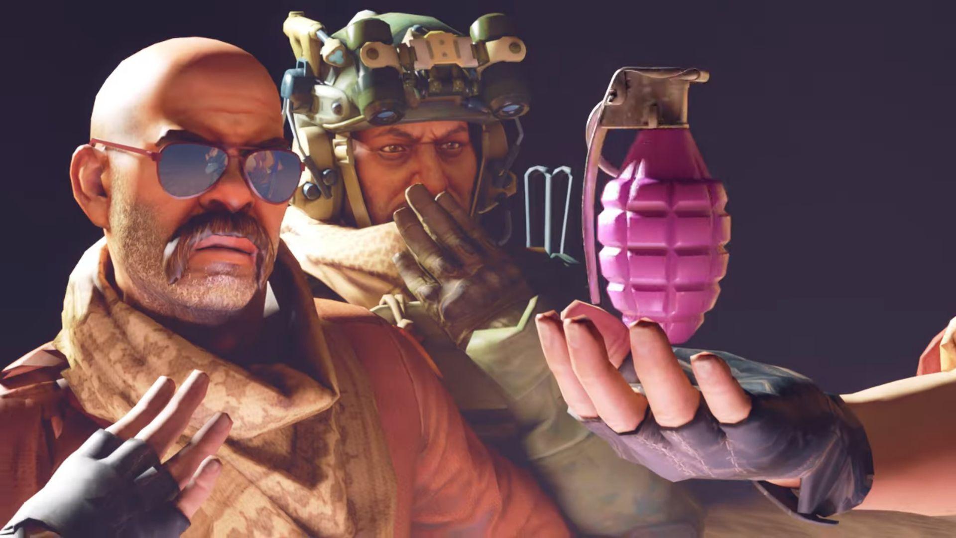Two men gasp at a magenta grenade