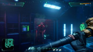 Holding a pipe as a weapon in a spooky space corridor.