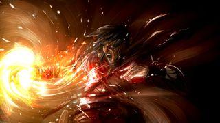 A sorcerer hurls a fire spell.