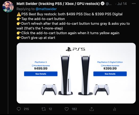PS5 Best Buy restock Twitter tracker alert