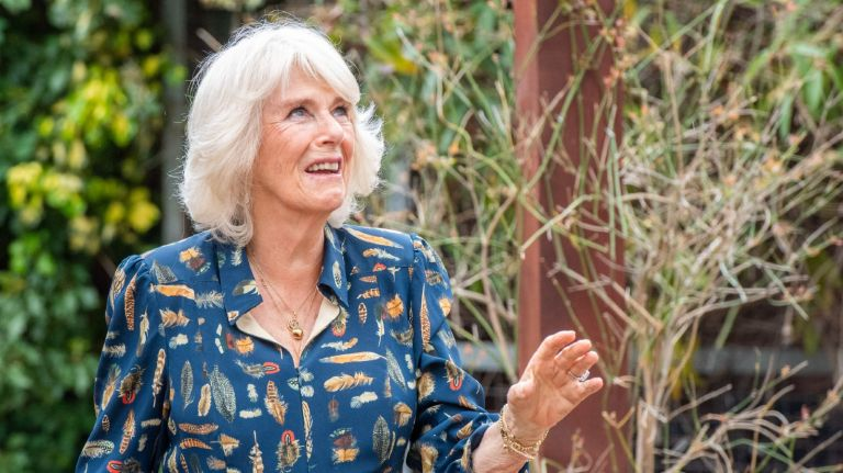 Camilla, Duchess of Cornwall, Patron of Roald Dahl's Marvellous Children's Charity, visits the hospital garden at The Whittington Hospital on May 12, 2021 in London, England.
