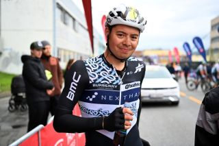 TROMSO NORWAY AUGUST 05 Harry Tanfield of United Kingdom and Team Qhubeka Nexthash at finish line during the 8th Arctic Race Of Norway 2021 Stage 1 a 1425km stage from Troms to Troms ArcticRace on August 05 2021 in Tromso Norway Photo by Stuart FranklinGetty Images