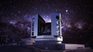 The latest design of the Giant Magellan Telescope enclosure, telescope and site at Las Campanas Observatory in Chile.