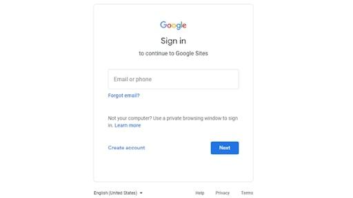 Google sign in pop up