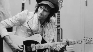Keith Richards backstage in 1975, with Telecaster