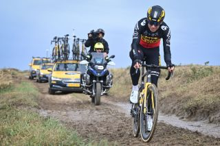 Belgian Wout Van Aert of Team Jumbo-Visma pictured in action during a training session ahead of the 118th edition of the 'Paris-Roubaix' one day cycling race, from Compiegne, near Paris to Roubaix, Thursday 30 September 2021. Due to the ongoing corona virus pandemic, the 2020 edition was cancelled and the 2021 edition was postponed from spring to autumn. For the first time, there will be a women's race Paris-Roubaix as well. BELGA PHOTO DAVID STOCKMAN (Photo by DAVID STOCKMAN/BELGA MAG/AFP via Getty Images)