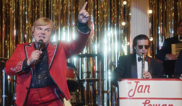 The Polka King Jack Black and Jason Schwartzman playing a set on stage