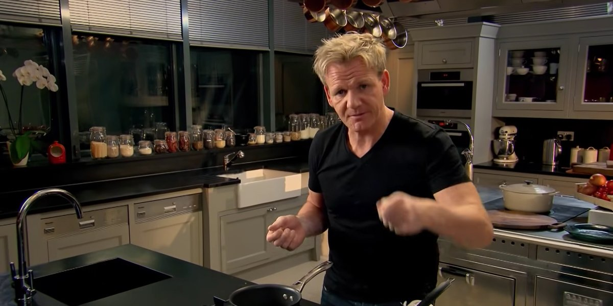 Gordon Ramsay in one of his many kitchens.