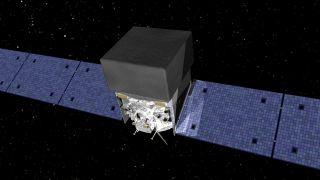An artist concept of Fermi Gamma-ray Space Telescope in orbit.