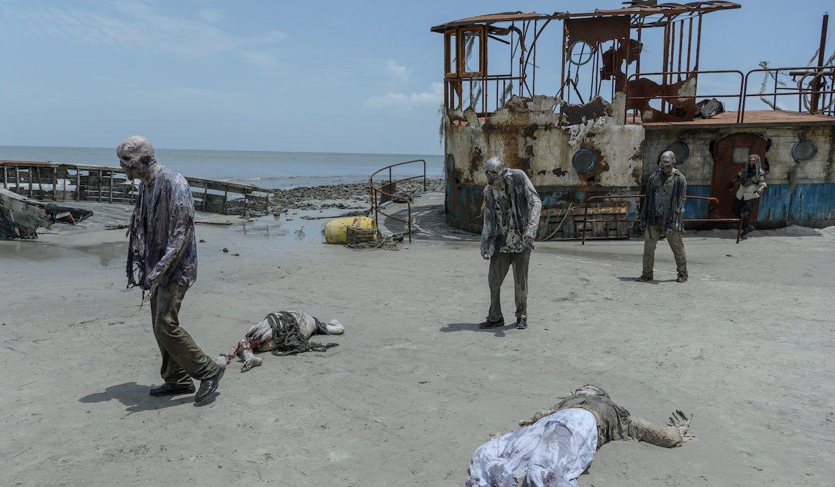 the walking dead zombies on the beach season 10 premiere