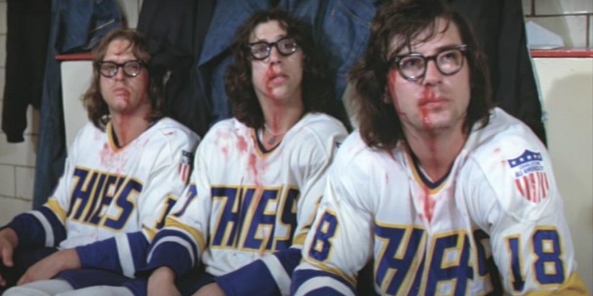 David Hanson, Steve Carlson, and Jeff Carlson in Slap Shot