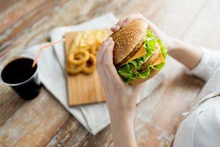 fast food, hamburger, soda, fries