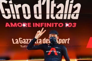 SESTRIERE ITALY OCTOBER 24 Podium Tao Geoghegan Hart of The United Kingdom and Team INEOS Grenadiers Celebration during the 103rd Giro dItalia 2020 Stage 20 a 190km stage from Alba to Sestriere 2035m girodiitalia Giro on October 24 2020 in Sestriere Italy Photo by Stuart FranklinGetty Images