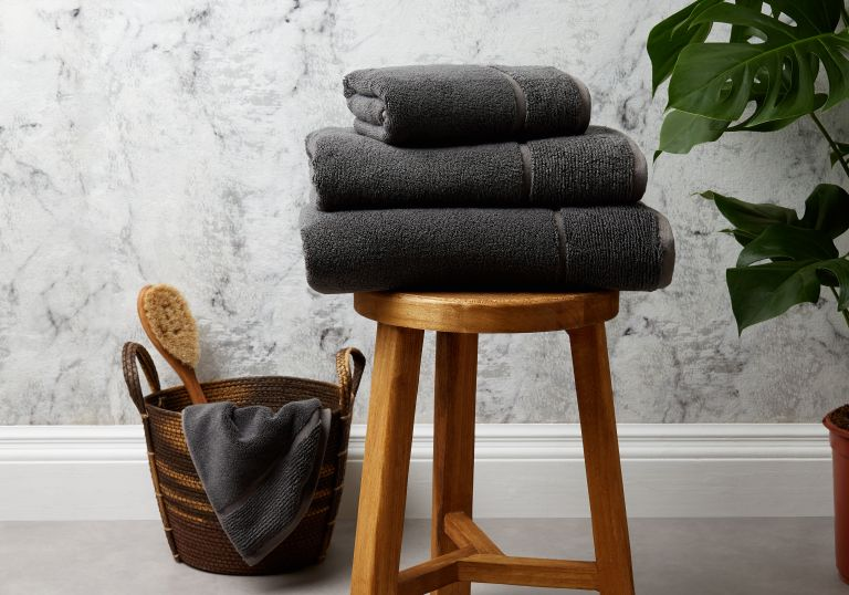 Grey bamboo and cotton towels from Panda